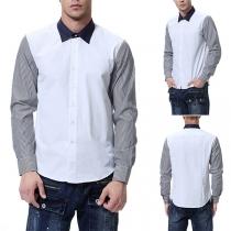 Fashion Striped Spliced Long Sleeve Contrast Color Men's Shirt