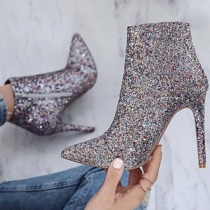 Sexy High-heeled Pointed Toe Sequin Ankle Boots Booties