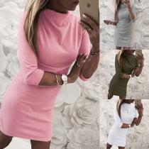 Fashion Half Sleeve Mock Neck Solid Color Slim Fit Dress