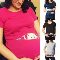Funny Baby Printed Short Sleeve Round Neck Maternity T-shirt