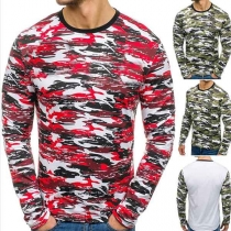 Fashion Camouflage Printed Long Sleeve Round Neck Men's T-shirt