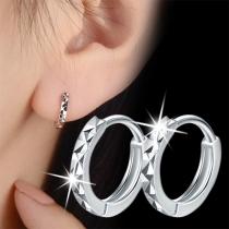Simple Style Silver-tone O-shaped Stud Earrings