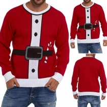 Fashion Contrast Color Long Sleeve Round Neck Men's Knit Top