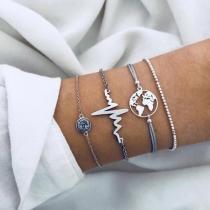Fashion Silver-tone Rhinestone Inlaid Bracelet Set 4 pcs/Set