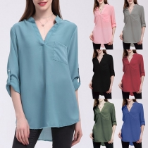 Fashion Solid Color Long Sleeve V-neck Chiffon Blouse