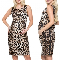 Fashion Sleeveless Round Neck Leopard Printed Maternity Dress