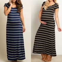 Fashion Short Sleeve Round Neck Striped Maternity Dress