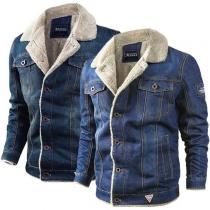 Fashion Long Sleeve Plush Lining Man's Denim Coat