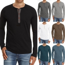 Simple Style Long Sleeve Round Neck Solid Color Man's T-shirt