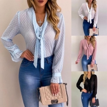 Sexy Long Sleeve Lace-up V-neck See-through Blouse