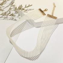 Fashion Imitation Pearl Choker Necklace