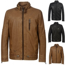Fashion Solid Color Long Sleeve Stand Collar Man's PU Leather Jacket