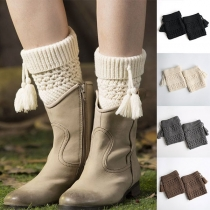 Fashion Solid Color Tassel Spliced Knit Leg Warmers