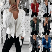 Fashion Solid Color Long Sleeve Oblique Zipper Jacket