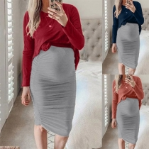 Fashion Long Sleeve T-shirt + Skirt Two-piece Set for Pregnant Women