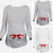 Sweet Bow-knot Printed Long Sleeve Round Neck Maternity T-shirt