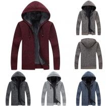 Fashion Long Sleeve Plush Lining Hooded Man's Knit Jacket