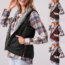 Fashion Solid Color Stand Collar Plush Lining Vest