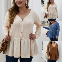 Casual Style V-neck Button Front Flounce Hem Long Sleeve Oversize Knit Top