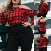 Sexy Oblique Shoulder Long Sleeve Plus-size Plaid Blouse