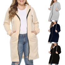 Fashion Solid Color Long-style Hooded Sweatshirt Coat