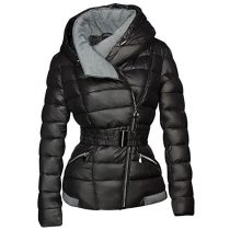 Fashion Long Sleeve Oblique Zipper Hooded Padded Coat(It falls small)