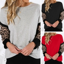 Fashion Leopard Spliced Long Sleeve Round Neck Sweatshirt