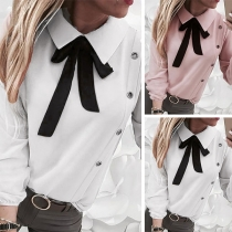 Sweet Style Long Sleeve Bow-knot Collar Solid Color Blouse (It falls small)