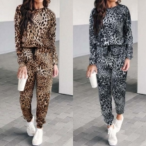 Fashion Leopard Printed Round Neck Sweatshirt + Pants Two-piece Set