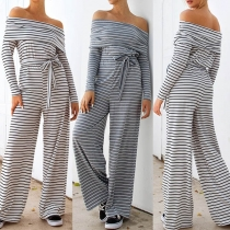 Sexy Off-shoulder Boat Neck Long Sleeve High Waist Striped Jumpsuit(It falls large)