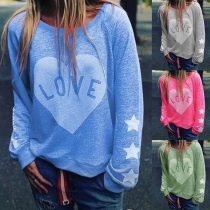 Casual Style Heart Printed Long Sleeve Round Neck Shirt