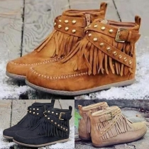Retro Style Flat Heel Round Toe Tassel Rivets Ankle Boots Booties