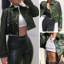 Fashion Solid Color Long Sleeve POLO Collar PU Leather Jacket