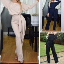 Elegant Solid Color Long Sleeve Round Neck High Waist Jumpsuit