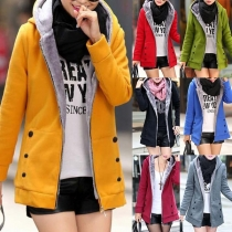 Fashion Solid Color Long Sleeve Hooded Plush Lining Sweatshirt Jacket(It falls small)