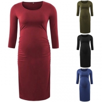 Fashion Solid Color Long Sleeve Round Neck Maternity Dress