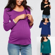 Fashion Solid Color Long Sleeve Round Neck Breastfeeding Maternity T-shirt