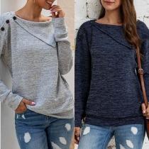 Fashion Solid Color Long Sleeve Irregular Collar Knit Top