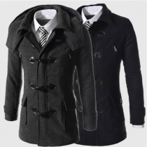 Fashion Solid Color Detachable Hooded Horn Button Man's Coat