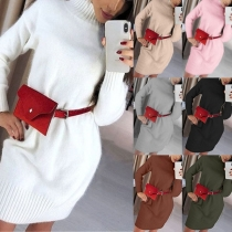Fashion Solid Color Long Sleeve Mock Neck Sweater Dress