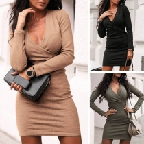 Sexy Deep V-neck Long Sleeve Solid Color Slim Fit Dress