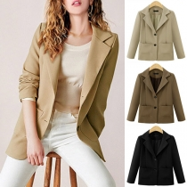 OL Style Long Sleeve Solid Color Blazer