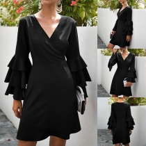 Sexy V-neck Lotus Sleeve Solid Color Dress