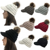 Fashion Solid Color Hairball Spliced Knit Peaked Cap