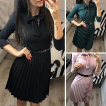 Sweet Style Bow-knot Collar 3/4 Sleeve Solid Color Dress