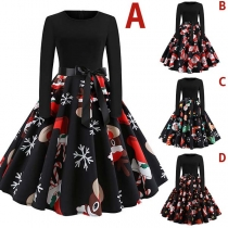 Fashion Long Sleeve Round Neck Printed Hem Christmas Dress