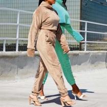 Sexy Long Sleeve High Collar Plush Crop Top + Pants Two-piece Set