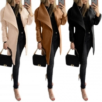 Fashion Solid Color Long Sleeve Lapel Woolen Coat with Waist Strap