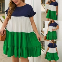 Fashion Contrast Color Short Sleeve Round Neck Plus-size Dress