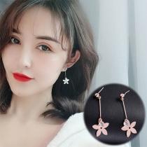 Sweet Style Flower Pendant Earrings